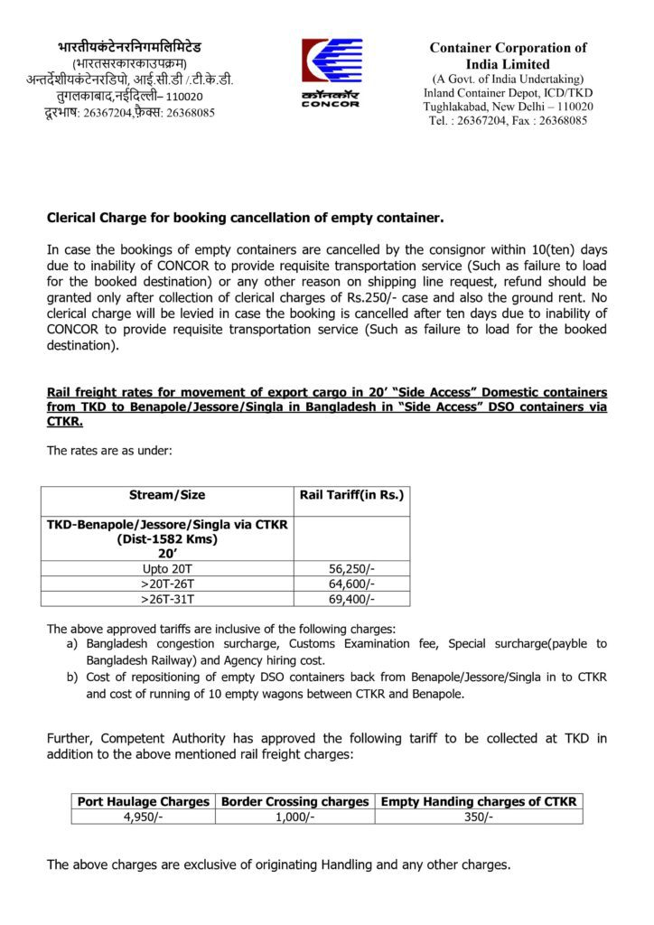 Terminal Handling Charges In ICD, Tughlakabad